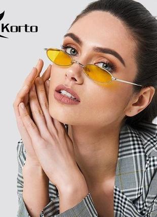Модные солнцезащитные очки желтые узкие овальные ретро очки 7016