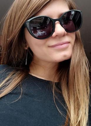 Новые красивые очки с блеском на оправе (линза с поляризацией) черные матовые
