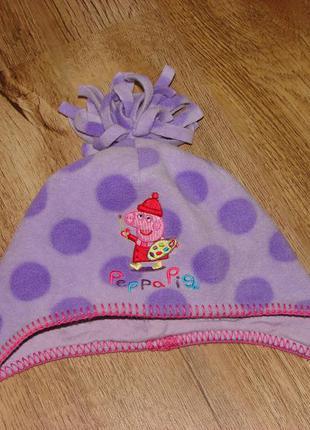 Флисовая шапочка next на 1-2 года со свинкой пеппой внутри трикотажная подкладка