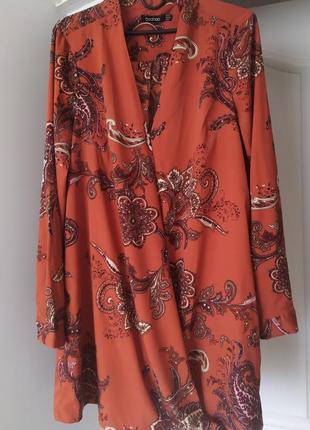 Блуза терракотовая boohoo,  122 фото