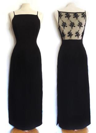 Стильное черное длинное платье с прозрачной спинкой
