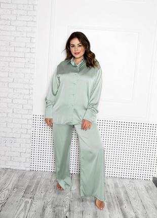 Шелковая пижама рубашка с пуговицами штаны широкий крой прямой свободная посадка