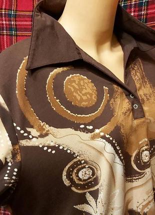 Коричневая блуза большого размера, отложной воротник. блуза с длинным рукавом батал принт
