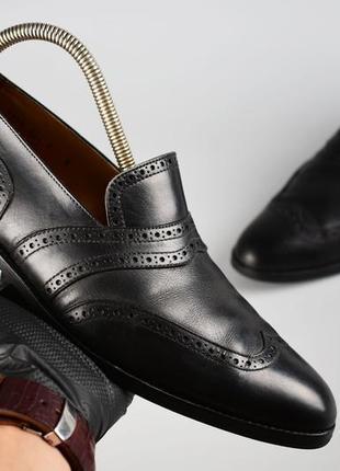 Emling оригинал! made in italy  мужские кожаные лоферы с перфорацией черные размер 42