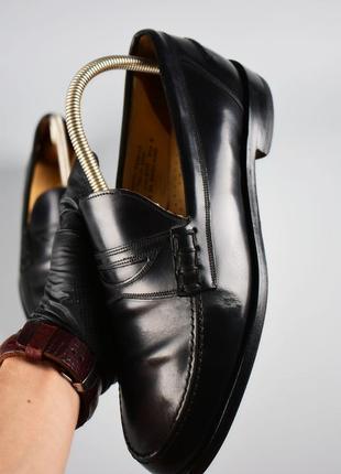 Loake made in england оригинал! мужские кожаные черные лоферы размер 42