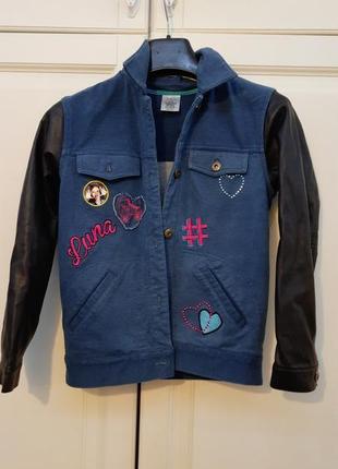 Джинсовая курточка с рукавами из эко кожи