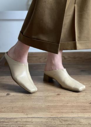 Кожаные трендовые мюли с квадратным носком