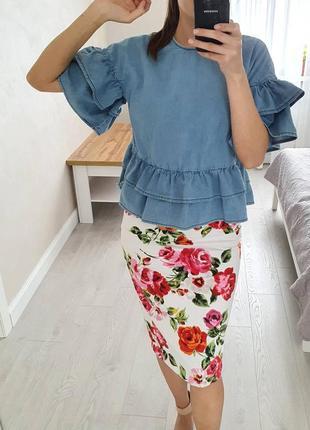 Котоновая голубая блуза, asos