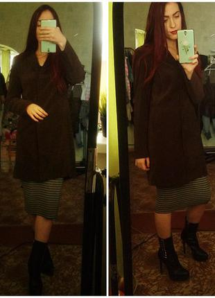 S-m легкое классическое женственное пальто плащ от etam темно-коричневого  цвета