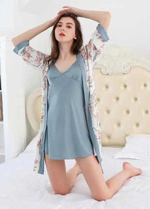 Комплект шелковый женский халат и ночная сорочка. набор для сна, пижама женская шелковая