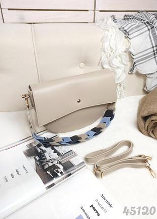 Каркасный клатч с плетёной ручкой