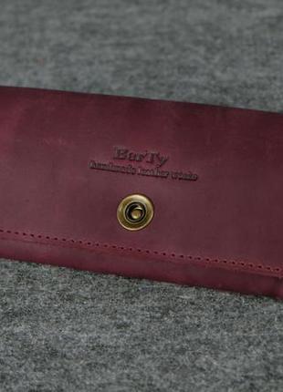 Кожа. ручная работа. кожаный фиолетовый женский кошелек, портмоне, клатч. марсала