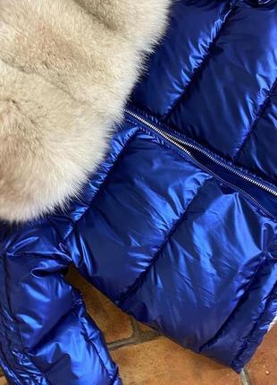 Женская куртка пуховик короткий с натуральным мехом песца,м-2хл