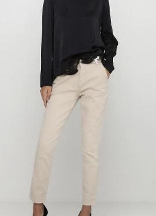 🌊бежевые песочные телесные нюдовые узкие брюки чинос штаны стрейч коттон damart р.14