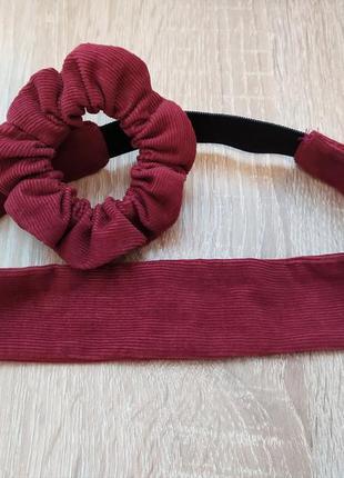 Набор из стильной повязки и объемной резинки для волос