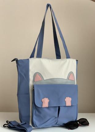 Тканевая сумка шоппер с котом
