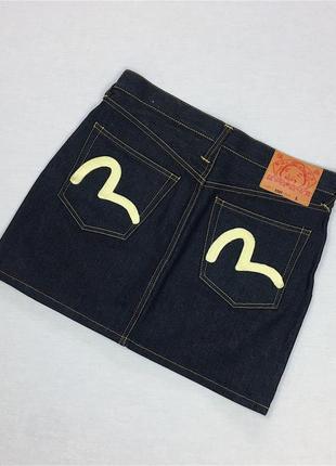 Джинсовая юбка оригинал серая высокая посадка evisu