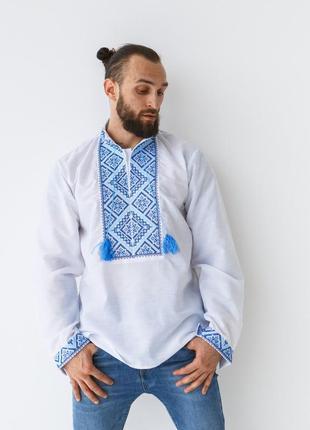 Мужская рубашка-вышиванка с сине-голубым орнаментом