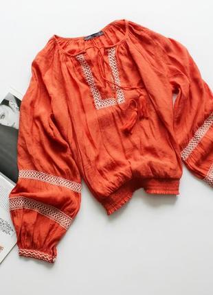 Красивая оранжевая блуза вышиванка л 12