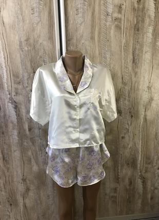Атласная пижама шорты с шортами ночная рубашка ночнушка