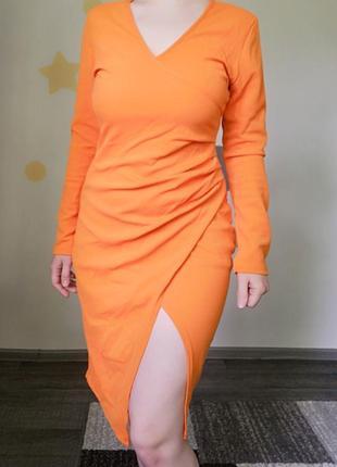 Оранжевое платье 🍊 с вырезом на фотосессию шифон