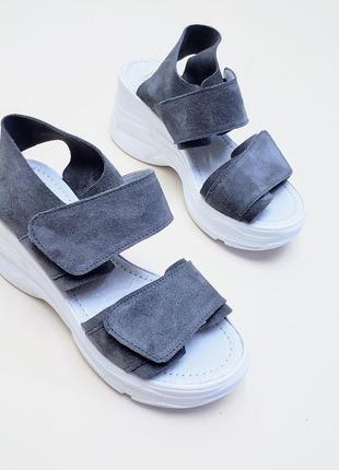Босоножки замшевые на липучках р35-40 сандалии туфли шлепанцы босоніжки сандалі туфлі шльопанці