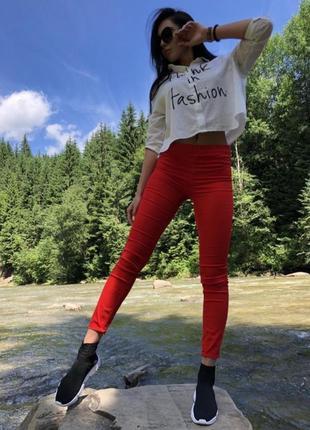 Красные стрейч коттон брюки штаны джинсы