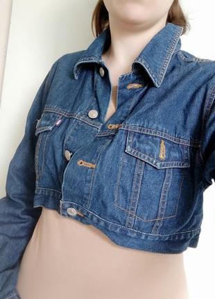 Куртка пиджак джинсовый укороченный топ