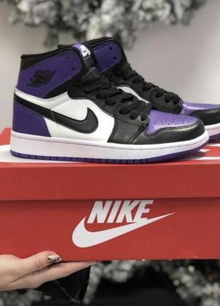Nike air jordan 1 retro violet фиолетовые джорданы найк