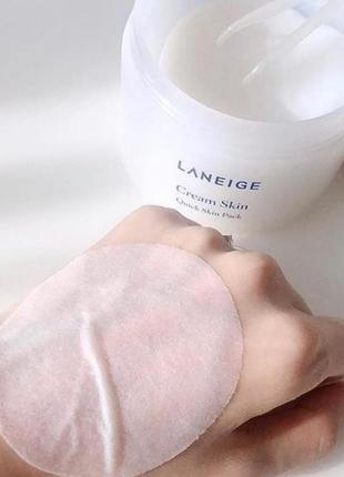 Мгновенная крем-маска для лица laneige cream skin quick skin pack (100 пэдов)