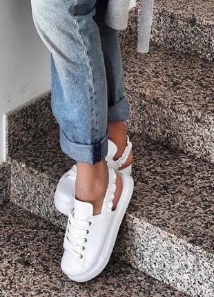 Кеды без пятки кожаные белые р36-41 тапки шлепки сабо мокасины слипоны балетки кроссовки