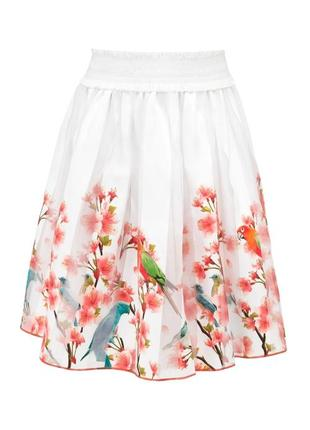Нарядная праздничная юбка джунгли с попугаями