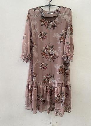 Шифоновое платье, батальные размеры, размер 50, разные цвета