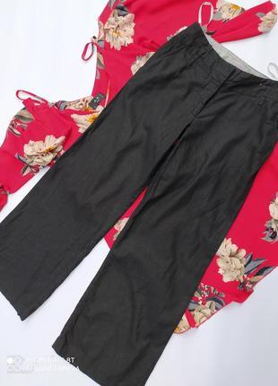Новые льняные брюки штаны повседневные чёрные базовые льон