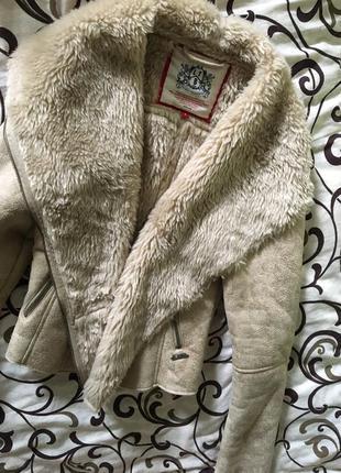 Зимняя замшевая меховая косуха от ltb ,дубленка с искусственным мехом