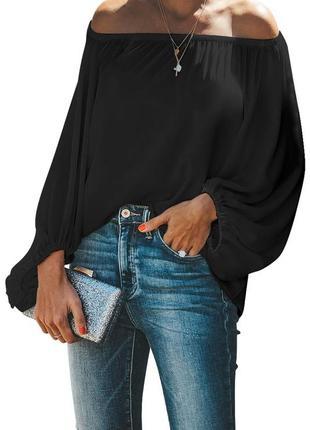Шифоновая , прозрачная ,свободная блузка с пышными рукавами и резинкой на плечах
