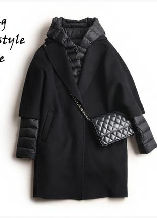 Шерстяное пальто оверсайз / пуховик 2 в 1