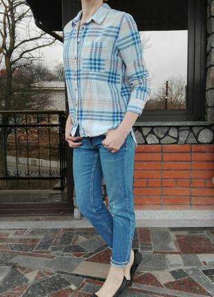 H&m рубашка женская в клетку, размер s. 100% хлопок