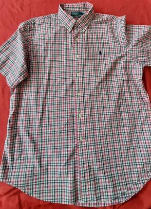 Мужская рубашка сорочка с коротким рукавом ralph lauren