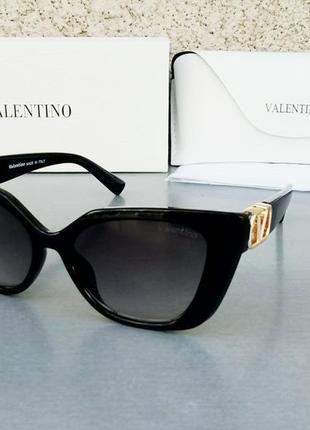 Valentino очки модные женские солнцезащитные черные с градиентом с золотым лого