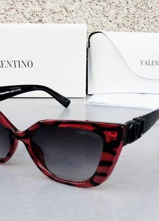 Valentino очки женские солнцезащитные черно бордовые с градиентом