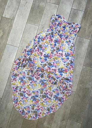 Ассиметричное платье,бюстье,цветочный принт