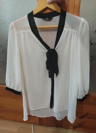 Шифоновая блуза f&f с трендовым бантом🔥