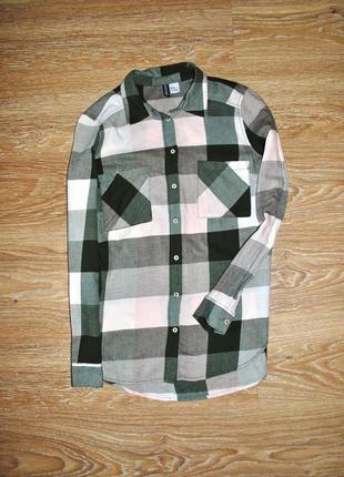 Удлиненная рубашка в хаки/розовый клетку h&m
