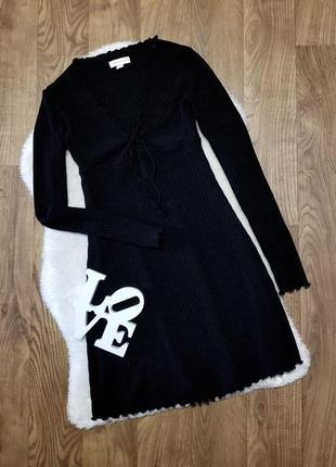 Черное платье в рубчик topshop с длинным рукавом сукня чорна плаття