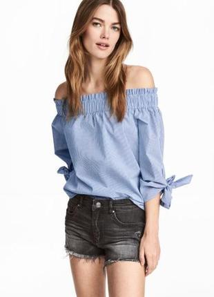 Потертые джинсовые шорты из стираного денима от h&m