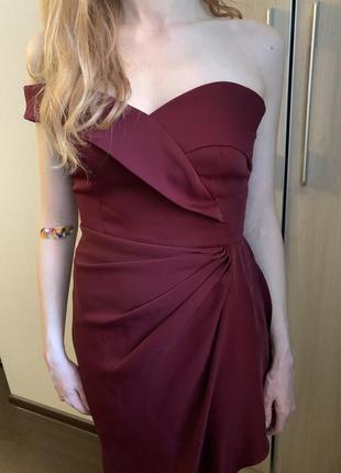 Платье длинное бордовое asos