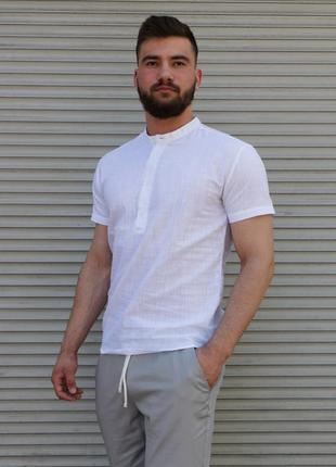 Мужская белая льняная рубашка с коротким рукавом