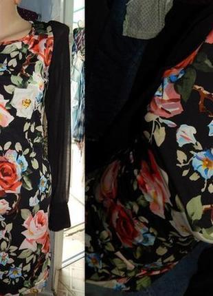 Платье в цветочек,рукав сетка,сукня в квіти