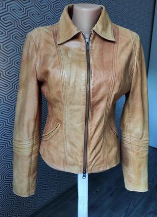 Куртка кожаная ииальянская кожанка натуральная кожа светло-коричневая